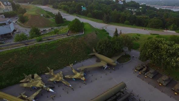 Thumbnail for Military Museum Exhibits Victory Park Kyiv City. Aerial View Kiev Pechersk Lavra