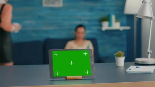 Isolated Digital Tablet with Mock Up Green Screen Chroma Key Display