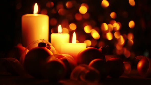 Thumbnail for Christmas Candles on a Dark Background