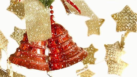 Thumbnail for Christmas Bells and Gold Stars Under Snow Fall