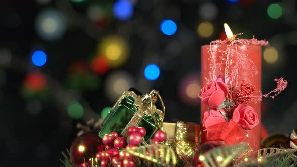 Cover Image for Christmas Decoration And Red Candle Light