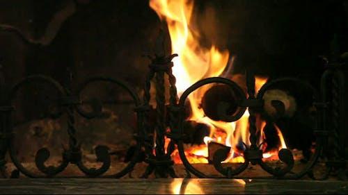 Blazing fireplace