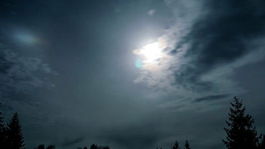 Cover Image for Full Moon Night Sky With Clouds