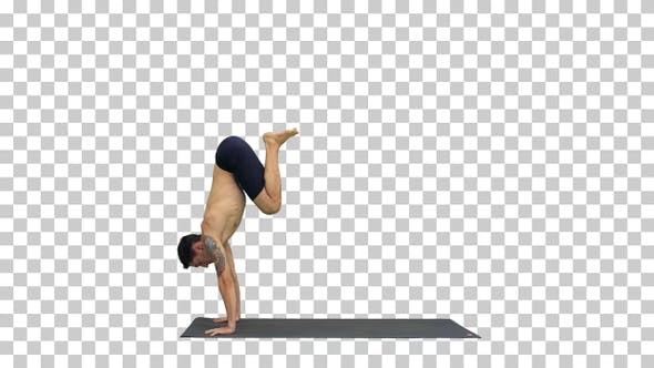 Thumbnail for Young man doing yoga, Alpha Channel