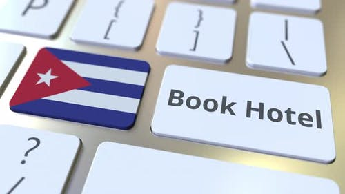 BOOK HOTEL Text and Flag of Cuba on the Buttons