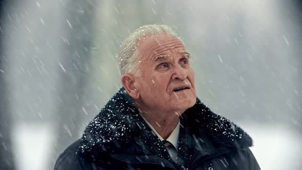 Thumbnail for Elderly Grandfather - Gray-haired Sad Grandfather Is Looking at the Sky and Sighs