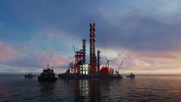 Complexe d'usine en mer