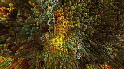 Abstract 3D Landscape Animation With Colorful Cubes