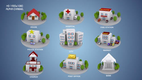 3D Animated Building Icon Pack 1