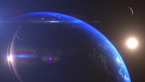 Earth And Moon Sunrise South East Asia