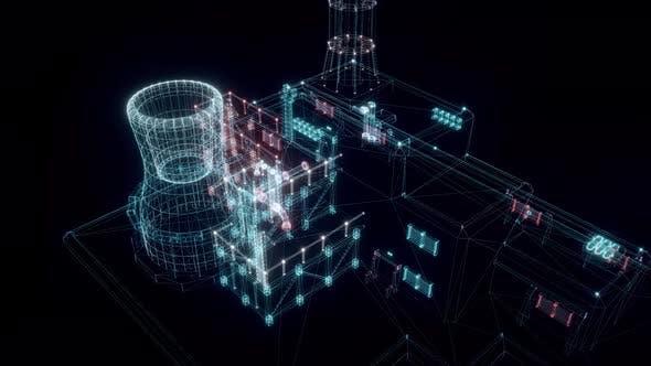 Digital Nuclear Station Hud Hologram 4k