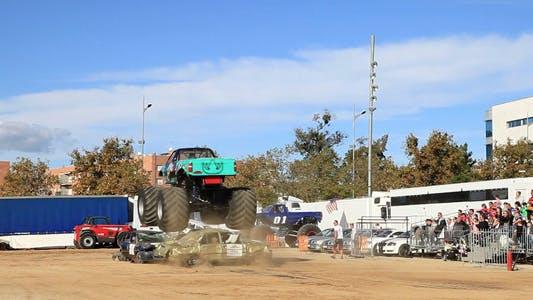 Monster Truck Destroying Cars
