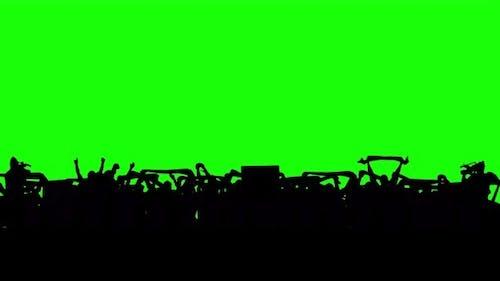 Football Fans on Green Screen