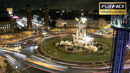 Fira de Barcelona Square Crowd at Night