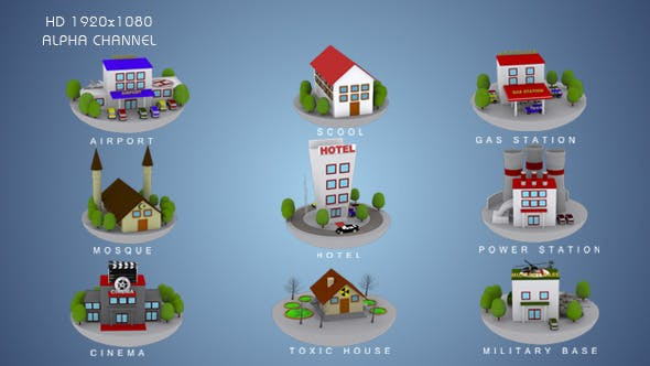 3D Animated Building Icon Pack 2