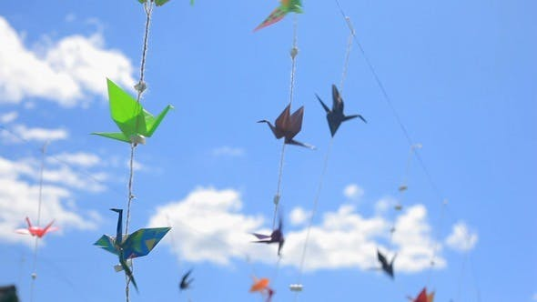 Thumbnail for Origami Japanese Cranes Floating in the Wind