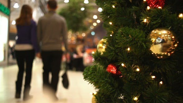 Thumbnail for People Walking in Shopping Centre at New Year's Eve