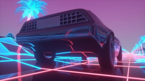 Retro Car of the Future Retrowave Style Back to the 1980's