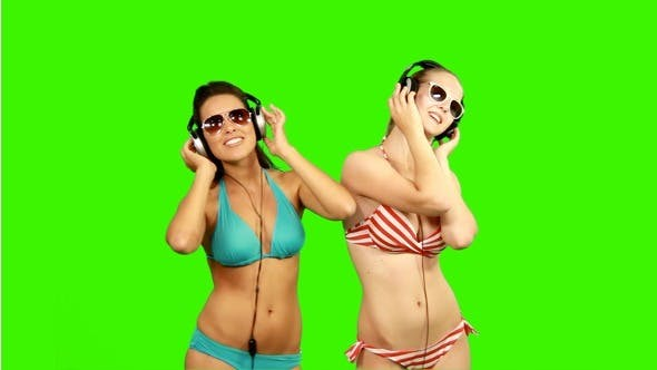 Thumbnail for Beautiful Slim Girls Dancing with Headphones