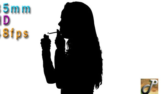 Thumbnail for Silhouette Of Woman Smoking Cigarette