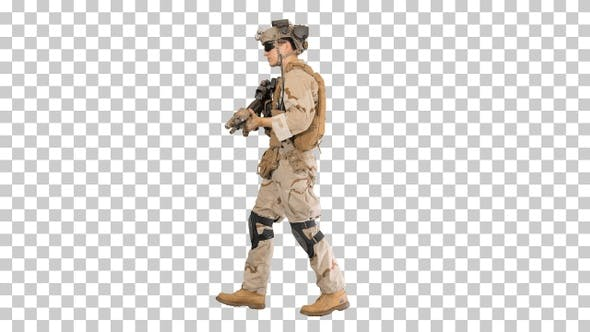 Thumbnail for Armed man in camouflage with a gun walking, Alpha Channel