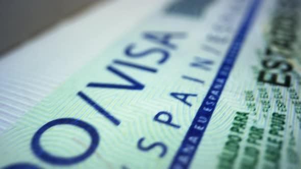 Thumbnail for Spanish Visa in Foreign Passport. Schengen Visa in Document. Travelling Concept