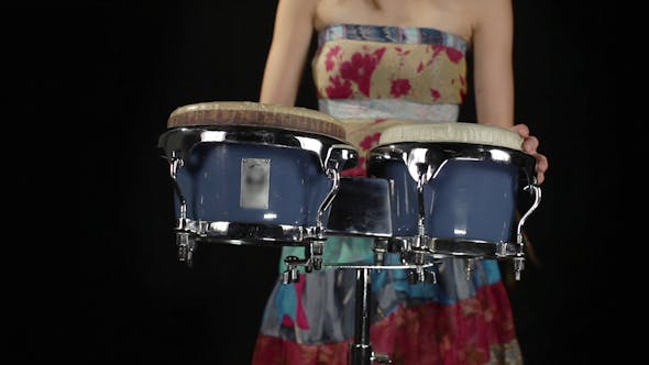 Thumbnail for Female Percussion Drummer Performing With Bongos