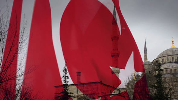 Thumbnail for Blue Mosque Turkish Flag Blowing