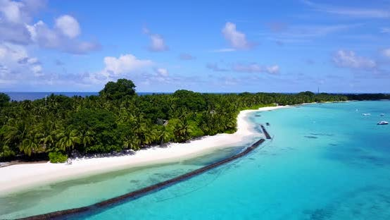 Thumbnail for Wide angle fly over abstract view of a sandy white paradise beach and aqua turquoise