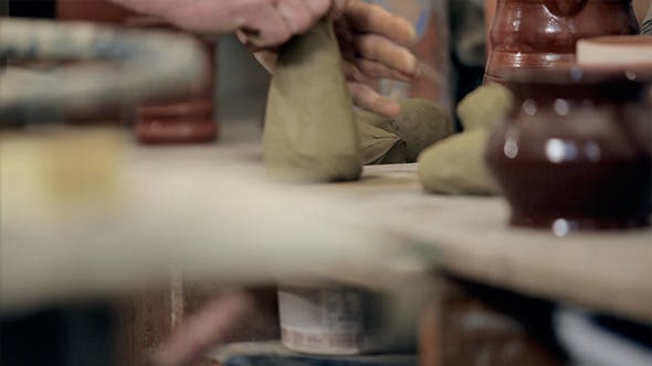 Thumbnail for Hand Of An Artisan Master Preparing Clay