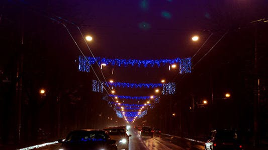 Thumbnail for Night Traffic On Boulevard Prepared For Winter