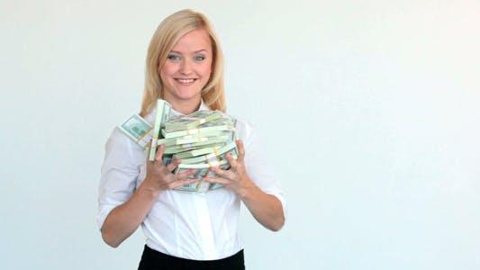 Pretty Blonde With Dollar Bills