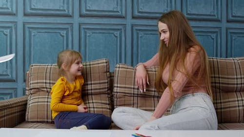 Kid Child Girl Preschooler Learn Pronunciation with Speech Therapist Teacher or Mother at Home