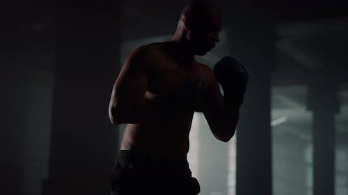 Male Boxer Kicking Punch Bag