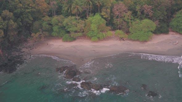 Espadilla South white sandy tropical Beach, Manuel Antonio National Park, Costa Rica. Aerial drone v