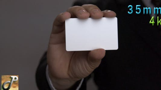 Thumbnail for Man Hand Holds Up A Blank Business Card