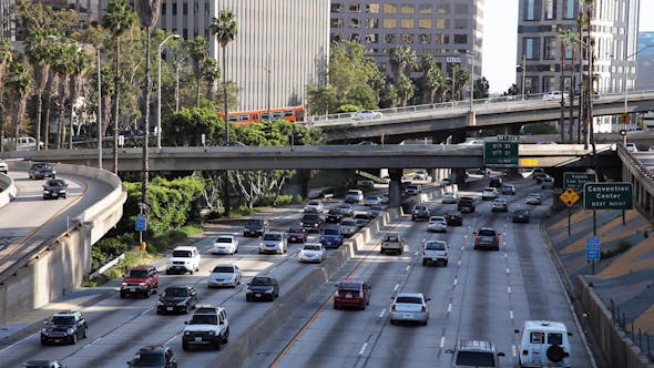 Traffic Downtown Los Angeles