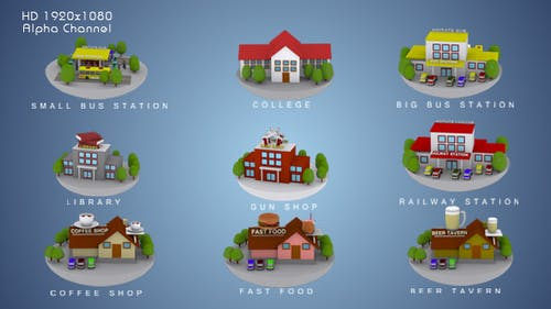 3D Animated Building Icon Pack 3