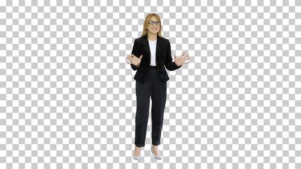 Smiling businesswoman explaining something, Alpha Channel