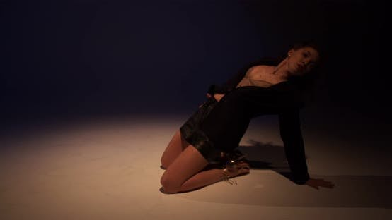 Choreography Young Woman Is Dancing on the Floor Sensual Performance