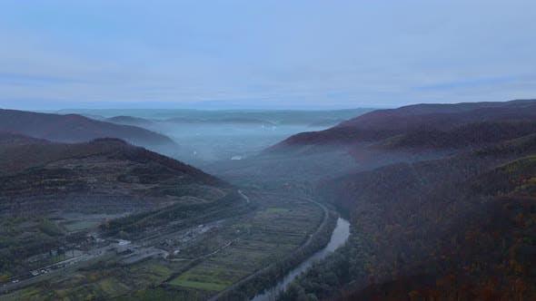 Beautiful Morning Through Mist Forest Mountain Autumn Valley Landscape Carpathians Ukraine