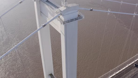 The Severn Bridge Connecting England and Wales Aerial View