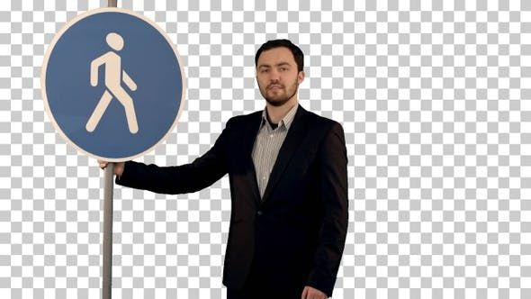 Man cross walk sign, Alpha Channel