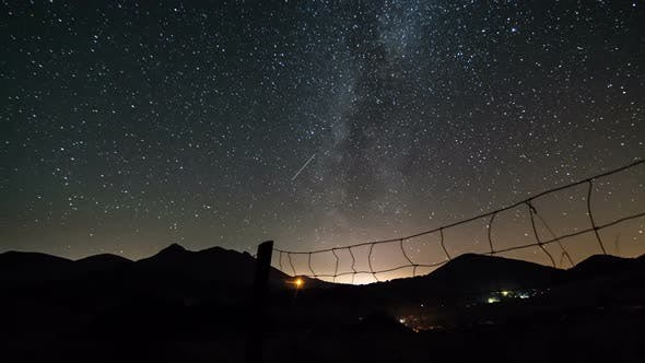 Thumbnail for Starry Night Sky with Milky Way Galaxy over Mountains