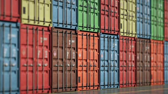 Cover Image for Loopable Move of Long Focus Camera along Rows of Cargo Shipping Containers
