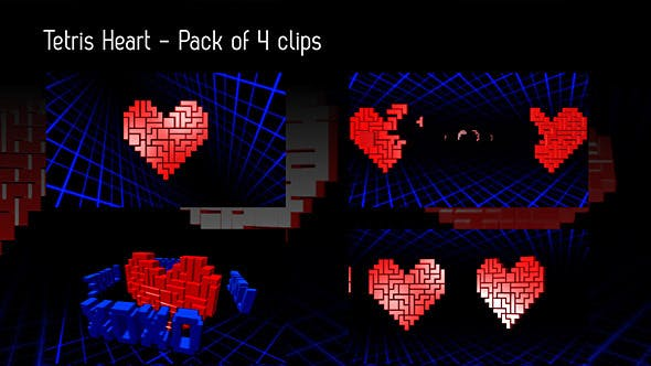 Tetris Heart Backgrounds - Pack Of 4
