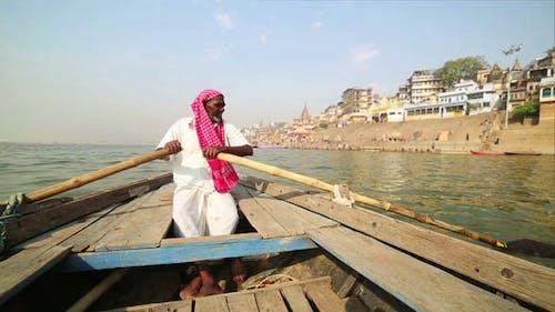 Indian Boatman At Varanasi Ganga River