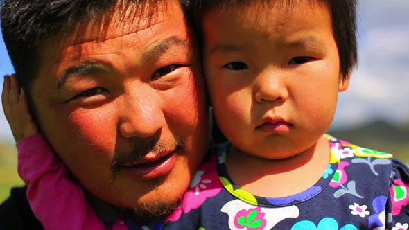 Thumbnail for Mongolian Father Posing With His Daughter