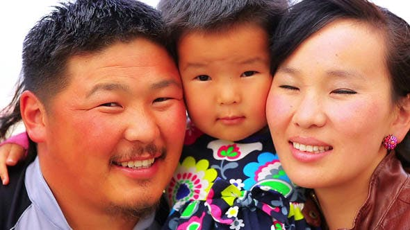 Porträt der mongolischen Familie