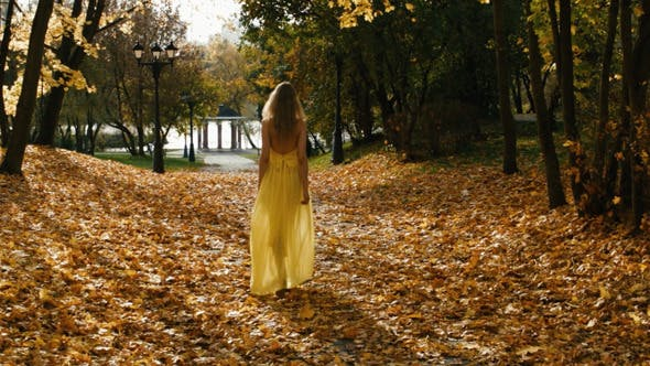 Thumbnail for Attractive Sexy Blond Woman In Dress Walking